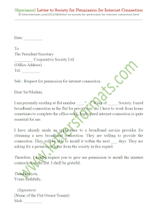 letter to society secretary for permission for internet connection