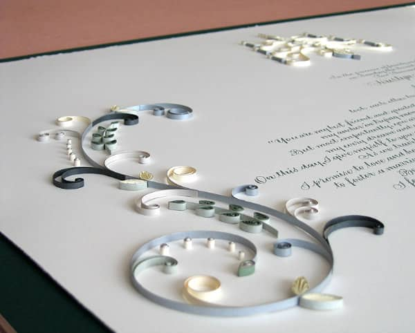 quilled Quaker marriage certificate