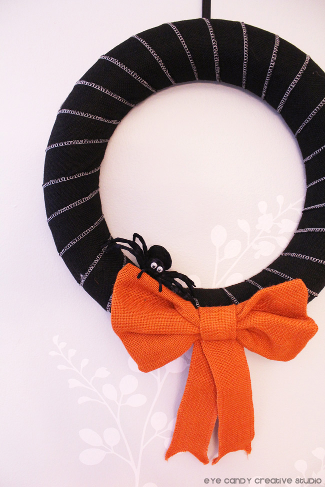 halloween wreath, spider, black and white wreath, orange bow, halloween