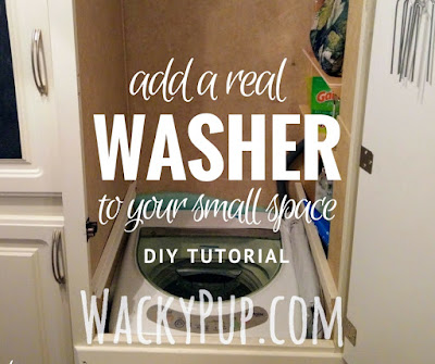 "Amazing! Add a washer to your camper or tiny house! only 18"" - full tutorial!"