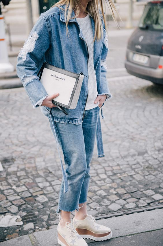 Denim Jacket, Mom Jeans, Balenciaga Bag, Stella McCartney Platforms