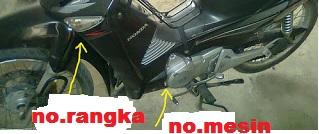 Mengetahui nomor rangka dan nomor mesin sepeda motor