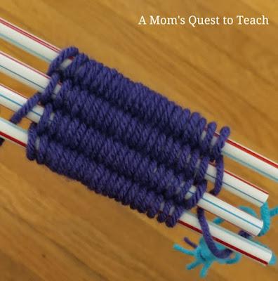 weaving using yarn and straws