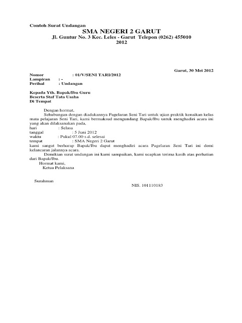 surat undangan setengah resmi pentas seni - www.simplenews.me