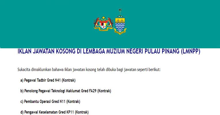 Kekosongan Terkini di Lembaga Muzium Negeri Pulau Pinang