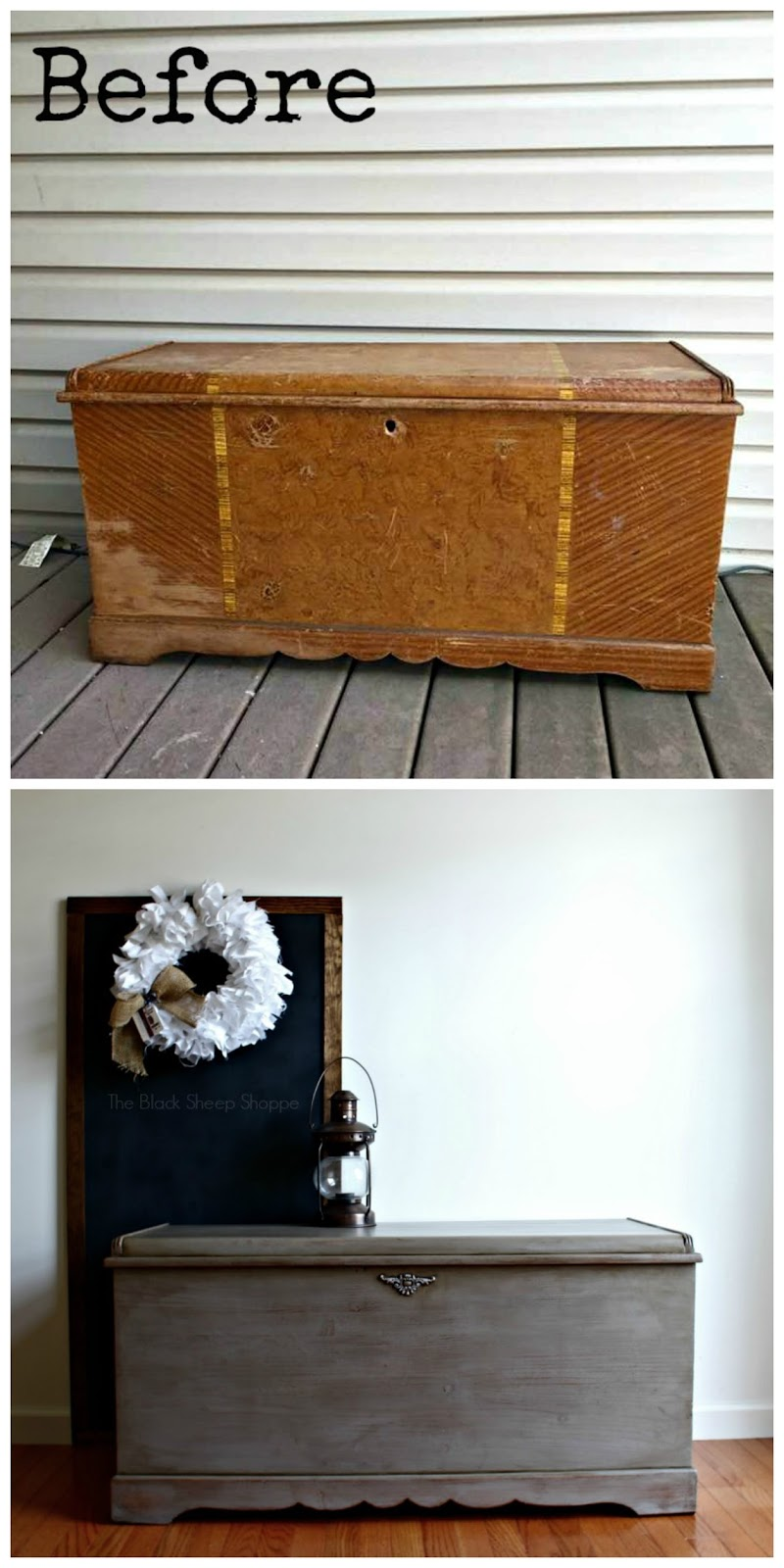 Before and after photo of cedar chest.