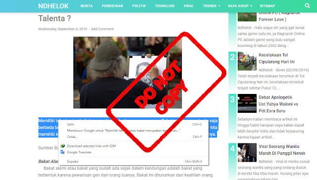 cara copy paste situs yang tidak bisa klik kanan