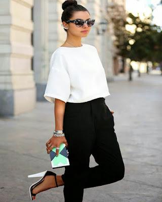 outfit para el trabajo blanco y negro de verano