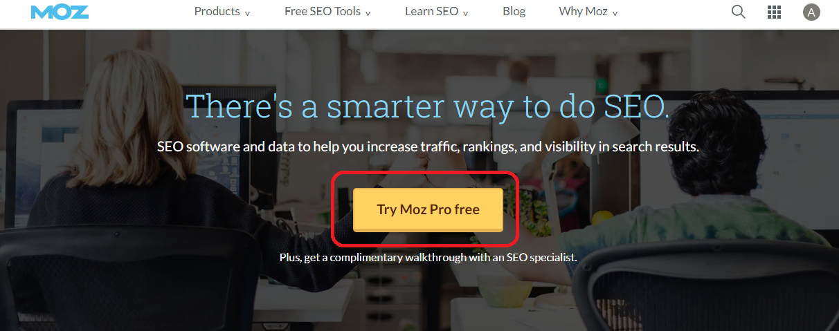 Click to Try Moz Pro Free