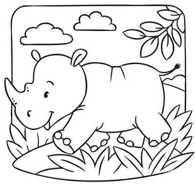 Tranh tô màu con tê giác đẹp