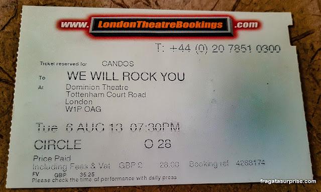 "Ingresso para o musical ""We Will Rock You"", Londres"