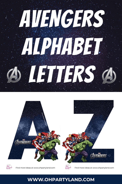 free printable avengers alphabet letters