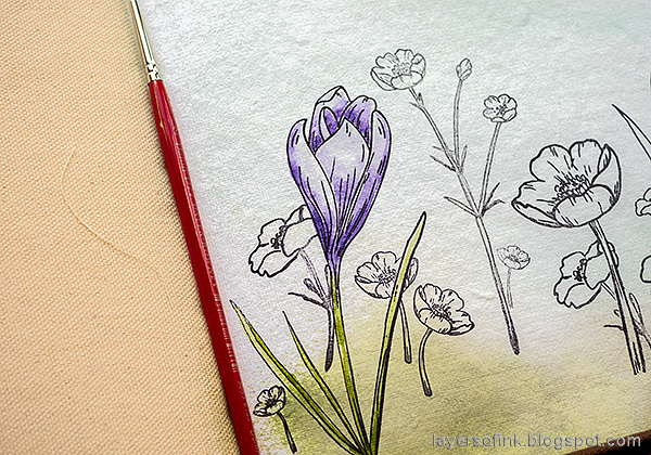 Layers of ink - Thoughtful Flowers Watercolor Garden Tutorial by Anna-Karin Evaldsson. Watercolor the crocus.
