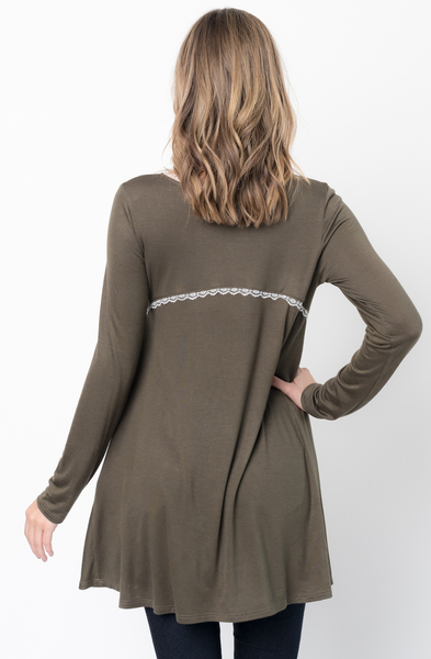 Buy Now Olive Lace Trim Long Sleeve Jersey Top Tunic Online - $34 -@caralase.com