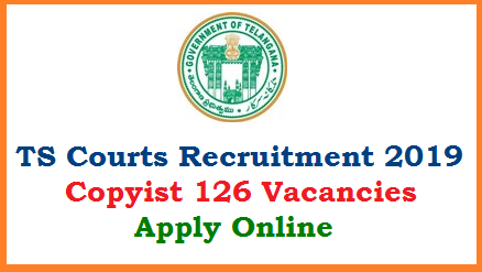 TS High court Recruitment Notification 2019 to fill up 126 Vacancies of Copoyist Posts in Telangana District Courts Released. District wise Vacancy details for Telangana Courts Recruitment 2019 are available here. Online Application form Scheme of Examination Exam Pattern Selection Procedure Downloading Hall Tickets Get Results by stay tuned here. You may visit Official websites www.hc.ts.nic.in www.districts.ecourts.gov.in/telangana telangana-courts-copyist-126-vacancies-recuitment-application-form