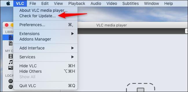 التحقق من وجود تحديثات في VLC على جهاز Mac