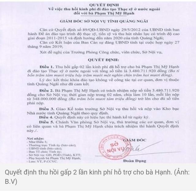 Con của 4 quan chức Quảng Ngãi đi học bằng tiền ngân sách không chụi về