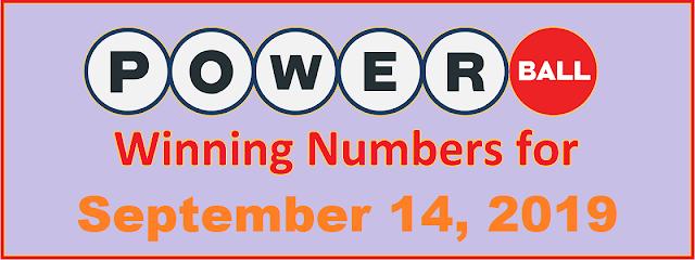 PowerBall Winning Numbers for Saturday, September 14, 2019