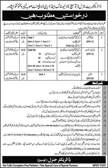 Livestock &  Dairy Development Department KPK Jobs 2021 Pakistan