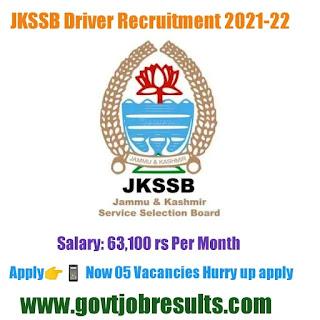 JKSSB Driver Vacancy Recruitment 2021-22