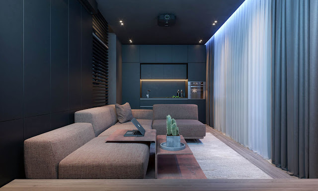 The dark bachelor apartment designs has a scheme that incorporates warm moments of taupe