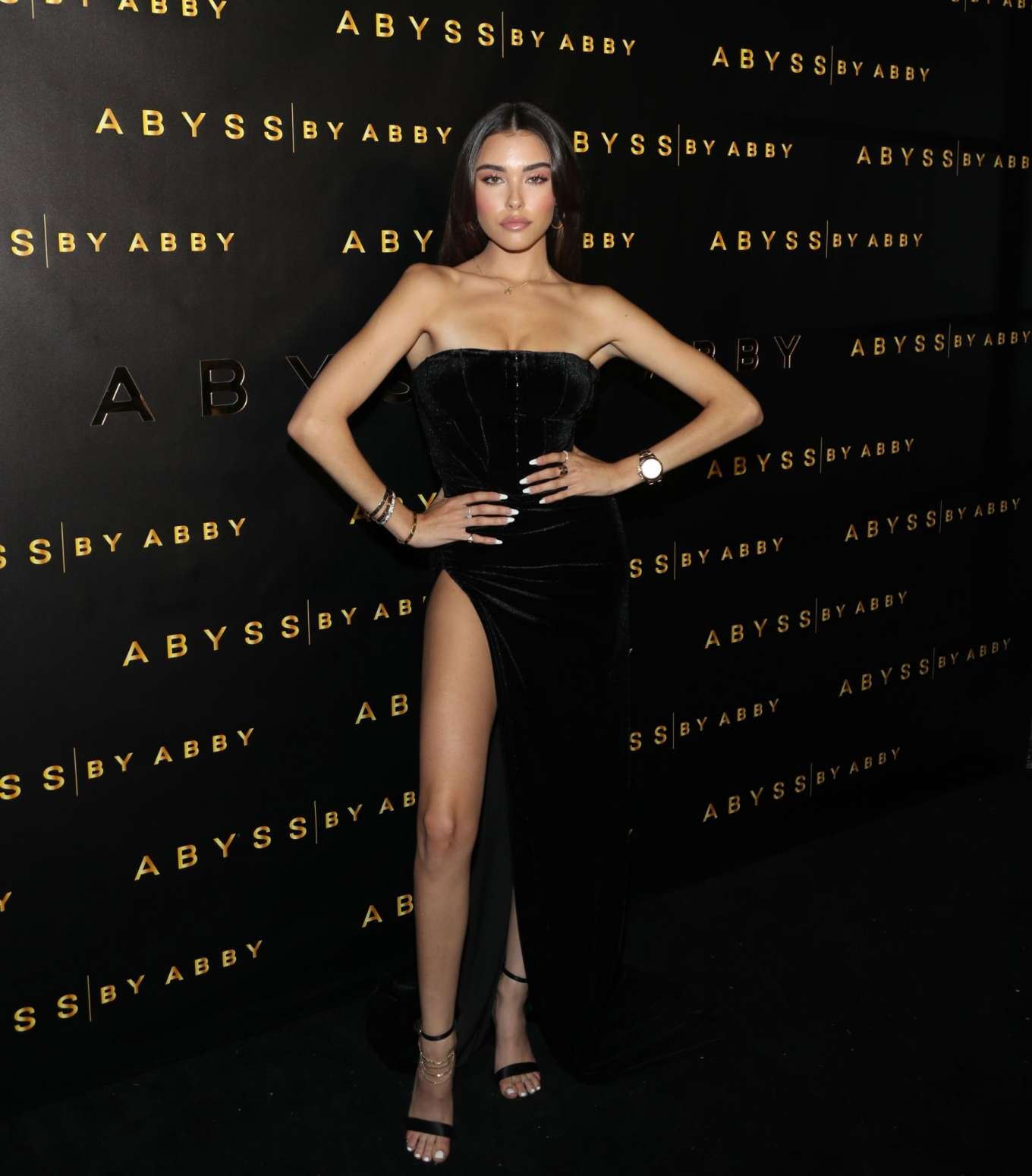 Madison Beer smoulders strapless at the Abyss by Abby launch in LA