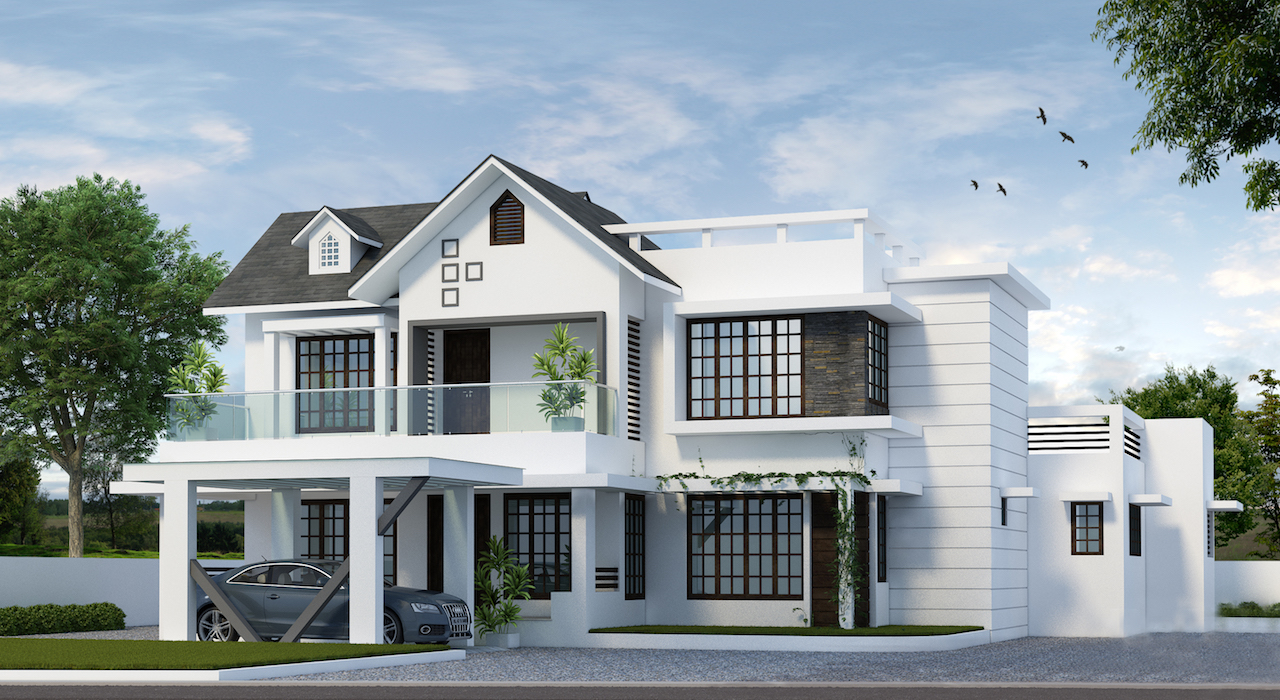 Contemporary mixed pattern 4 Bed room around 2000 sq ft