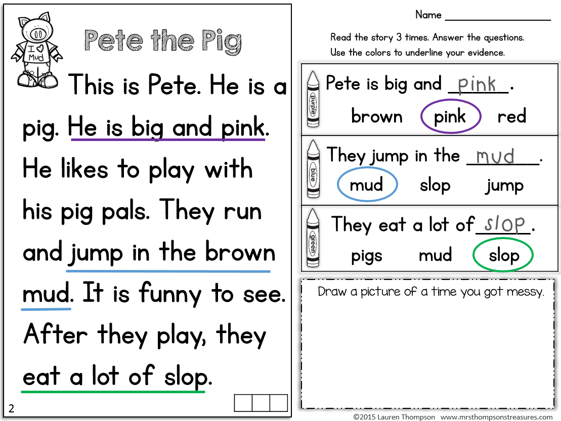 Reading Passages For Kindergarten Fluency