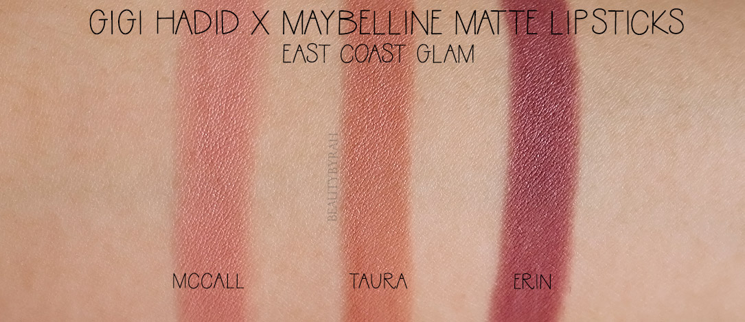 Gigi Hadid x Maybelline Erin Taura McCall Lipstick Review and Swatches