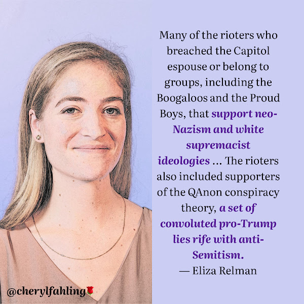 Many of the rioters who breached the Capitol espouse or belong to groups, including the Boogaloos and the Proud Boys, that support neo-Nazism and white supremacist ideologies ... The rioters also included supporters of the QAnon conspiracy theory, a set of convoluted pro-Trump lies rife with anti-Semitism. — Eliza Relman, Business Insider Senior Politics Reporter