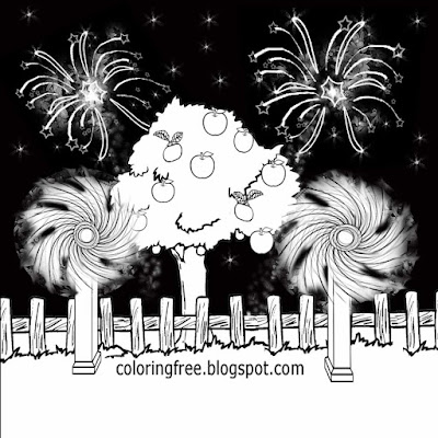 Explosive rocket atmosphere spinning pinwheel fireworks printable coloring images young peoples art