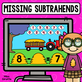 Missing subtrahends digital game kids can play to practice this difficult math skill in a really fun way!