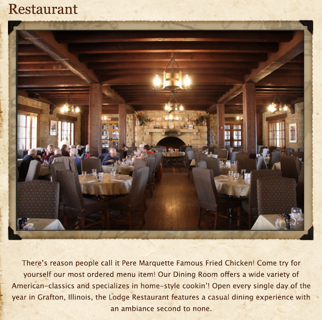 color photo of restaurant dining room Pere Marquette lodge Grafton Illinois