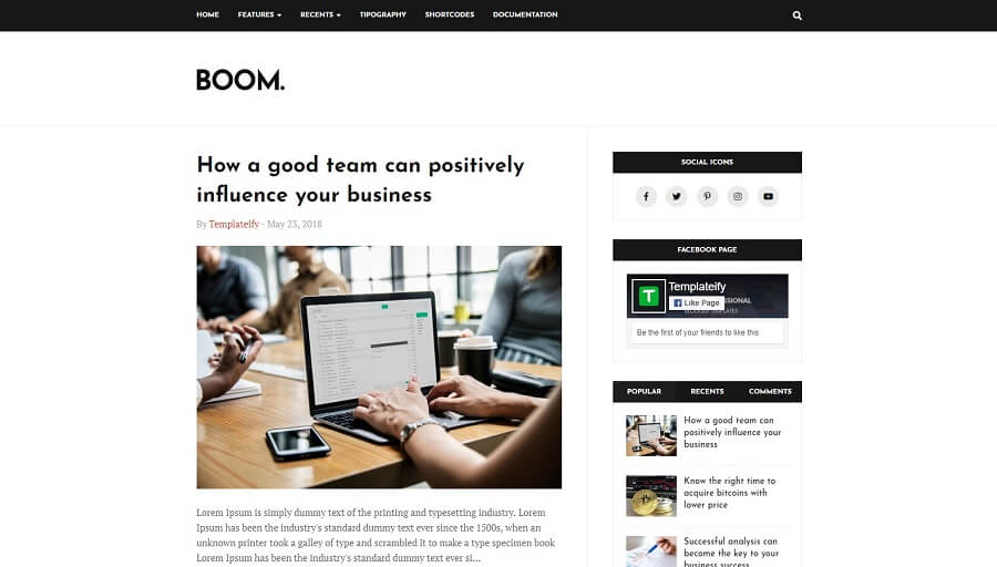 Boom v1.0 - Professional Responsive Blogger Template