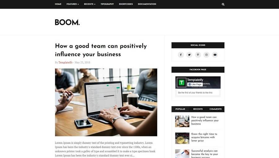 Boom v1.0 - Professional Responsive Blogger Template