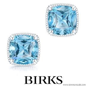 Meghan Markle wore Birks Bee Chic Blue Topaz Silver Stud Earrings