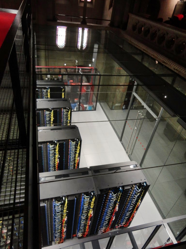 View of Barcelona Supercomputer from the top. Note the cooling pumps at the end.