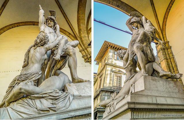 """Escultura """"Rapto de Polixena"""", na Loggia dei Lanzi, em Florença"""