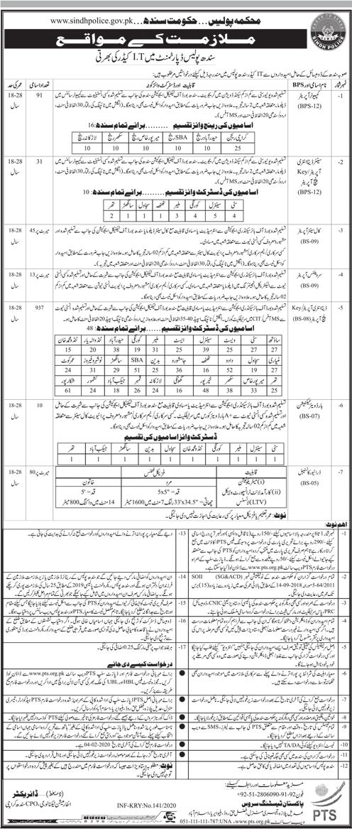 Sindh Police Department Jobs 2020 Via PTS 2020 Job
