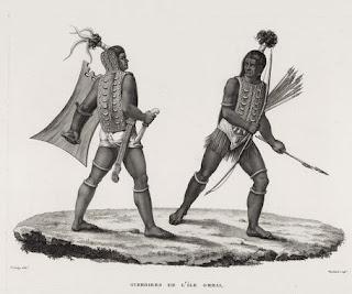 Guerriers de l'Île Ombai - Dessin de Jacques Arago - Musée du quai Branly- Jacques Chirac.
