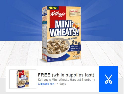 Coupgon Free Mini-Wheats Harvest Blueberry Cereal