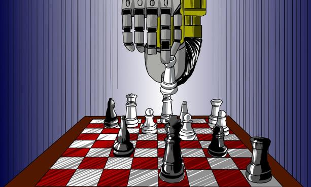 Robot jugando al ajedrez.