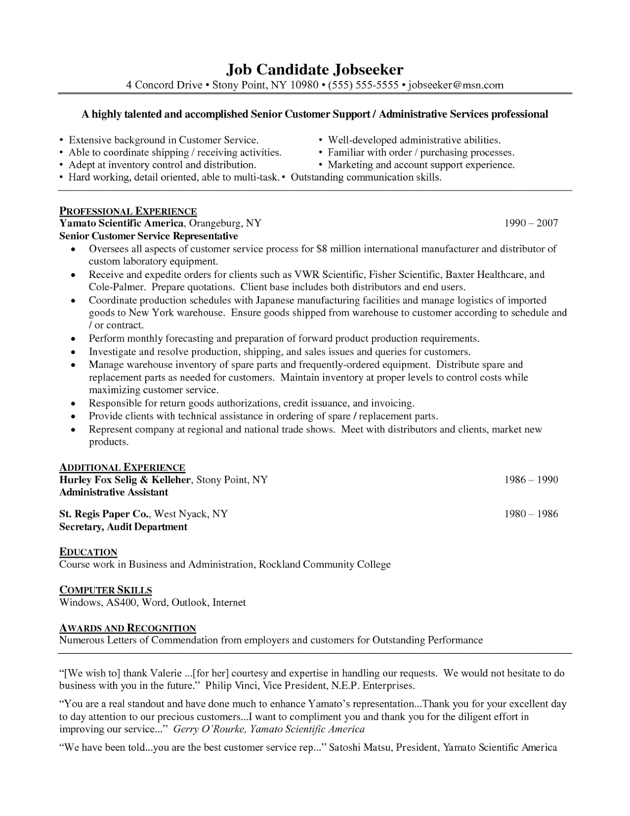 Resume Objective Customer Service Examples