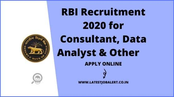 RBI Recruitment 2020 for Consultant, Data Analyst