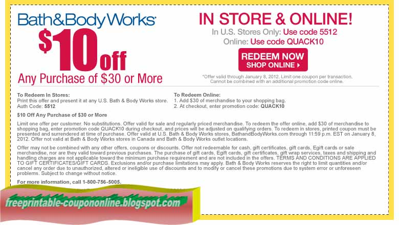 Bath & body works online coupons