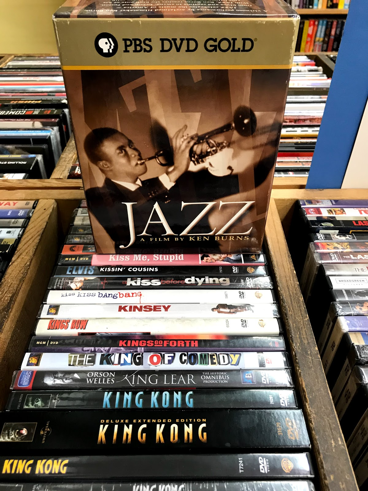 Image: DVD's and CD's of jazz at a local bookstore.