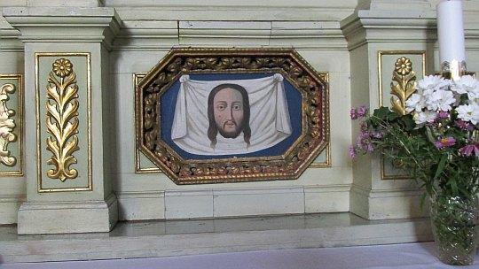 """Obraz """"Chusta św. Weroniki"""" z końca XVIII wieku."""