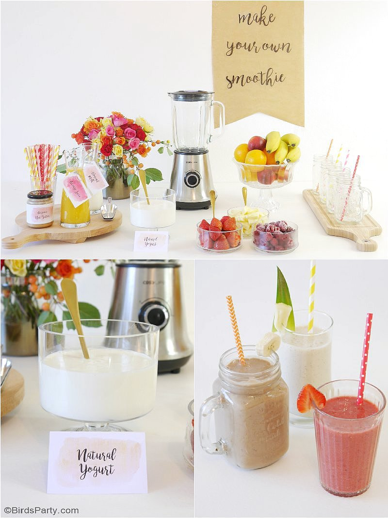 Styling a Smoothie Bar for Summer parties with tasty and healthy recipes - a refreshing, healthy drinks station for a baby or bridal shower, summer brunch or celebration! by BirdsParty.com @birdsparty