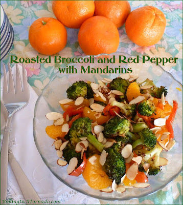 Roasted Broccoli and Red Pepper with Mandarins is a versatile dish, perfect alone as a side dish or over rice or noodles as a meatless meal. | Recipe developed by www.BakingInATornado.com | #recipe #dinner