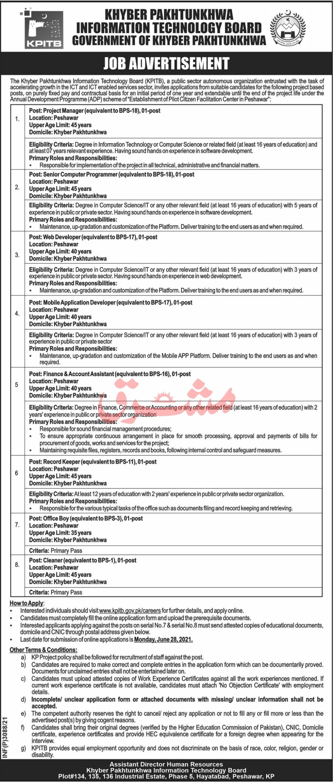 www.kpitb.gov.pk Jobs 2021 - KPK Information Technology Board (KPITB) Jobs 2021 in Pakistan